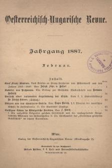 Oesterreichisch-Ungarische Revue. Jg. [1], 1887, Bd. 2, Heft[11]