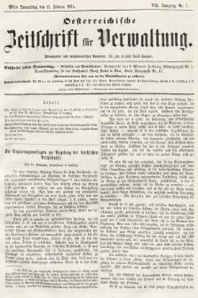 Oesterreichische Zeitschrift für Verwaltung. Jg. 7, 1874, nr7