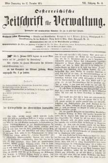 Oesterreichische Zeitschrift für Verwaltung. Jg. 7, 1874, nr51