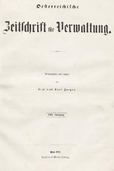 Oesterreichische Zeitschrift für Verwaltung. Jg. 8, 1875, indeksy