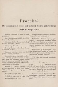 [Kadencja VII, sesja III, pos.29] Protokół 29. Posiedzenia 3. Sesyi, VII. Peryodu Sejmu Galicyjskiego