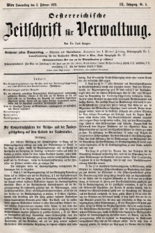 Oesterreichische Zeitschrift für Verwaltung. Jg. 9, 1876, nr5