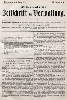 Oesterreichische Zeitschrift für Verwaltung. Jg. 9, 1876, nr7