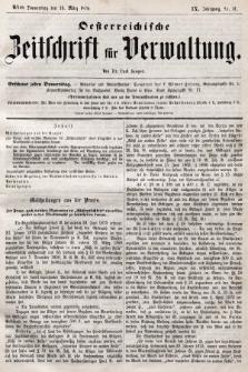 Oesterreichische Zeitschrift für Verwaltung. Jg. 9, 1876, nr11