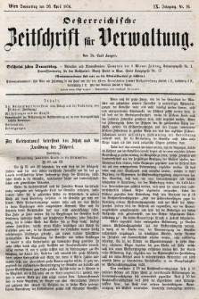 Oesterreichische Zeitschrift für Verwaltung. Jg. 9, 1876, nr16