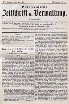 Oesterreichische Zeitschrift für Verwaltung. Jg. 9, 1876, nr22