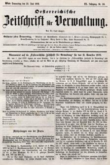 Oesterreichische Zeitschrift für Verwaltung. Jg. 9, 1876, nr26