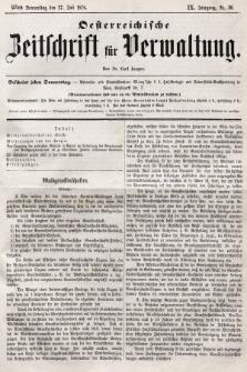 Oesterreichische Zeitschrift für Verwaltung. Jg. 9, 1876, nr30