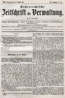 Oesterreichische Zeitschrift für Verwaltung. Jg. 9, 1876, nr34