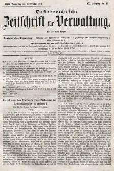 Oesterreichische Zeitschrift für Verwaltung. Jg. 9, 1876, nr41