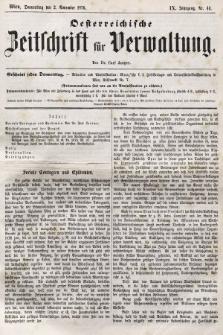Oesterreichische Zeitschrift für Verwaltung. Jg. 9, 1876, nr44