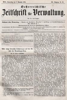 Oesterreichische Zeitschrift für Verwaltung. Jg. 9, 1876, nr45