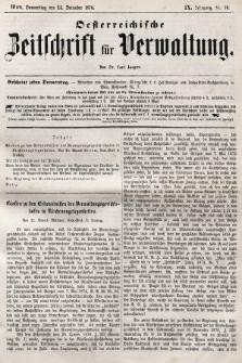 Oesterreichische Zeitschrift für Verwaltung. Jg. 9, 1876, nr50