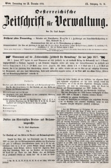 Oesterreichische Zeitschrift für Verwaltung. Jg. 9, 1876, nr51