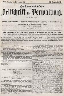 Oesterreichische Zeitschrift für Verwaltung. Jg. 9, 1876, nr52
