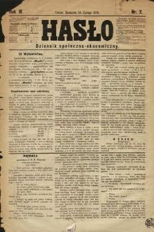 Hasło : dziennik społeczno-ekonomiczny. 1876, nr2
