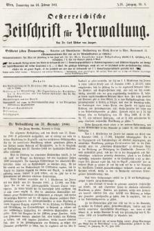 Oesterreichische Zeitschrift für Verwaltung. Jg. 14, 1881, nr8