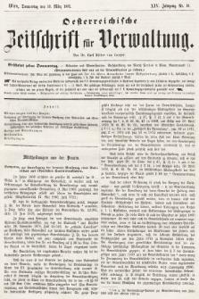 Oesterreichische Zeitschrift für Verwaltung. Jg. 14, 1881, nr10