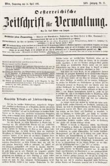 Oesterreichische Zeitschrift für Verwaltung. Jg. 14, 1881, nr15