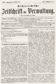 Oesterreichische Zeitschrift für Verwaltung. Jg. 14, 1881, nr17