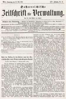 Oesterreichische Zeitschrift für Verwaltung. Jg. 14, 1881, nr21