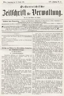 Oesterreichische Zeitschrift für Verwaltung. Jg. 14, 1881, nr41