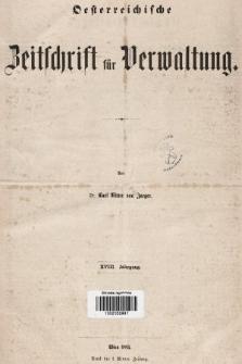 Oesterreichische Zeitschrift für Verwaltung. Jg. 18, 1885, indeksy