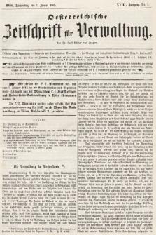 Oesterreichische Zeitschrift für Verwaltung. Jg. 18, 1885, nr1