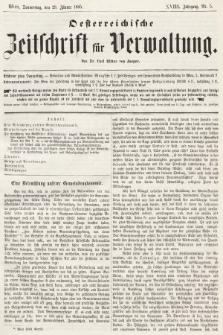 Oesterreichische Zeitschrift für Verwaltung. Jg. 18, 1885, nr5