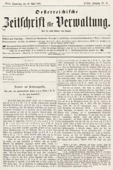 Oesterreichische Zeitschrift für Verwaltung. Jg. 18, 1885, nr18