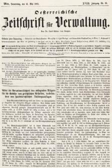 Oesterreichische Zeitschrift für Verwaltung. Jg. 18, 1885, nr20