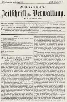 Oesterreichische Zeitschrift für Verwaltung. Jg. 18, 1885, nr24