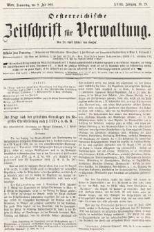 Oesterreichische Zeitschrift für Verwaltung. Jg. 18, 1885, nr28