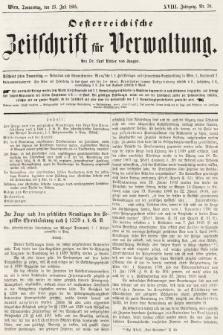 Oesterreichische Zeitschrift für Verwaltung. Jg. 18, 1885, nr30