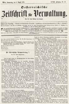 Oesterreichische Zeitschrift für Verwaltung. Jg. 18, 1885, nr32