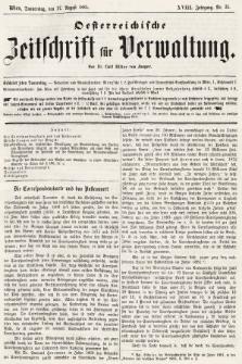Oesterreichische Zeitschrift für Verwaltung. Jg. 18, 1885, nr35