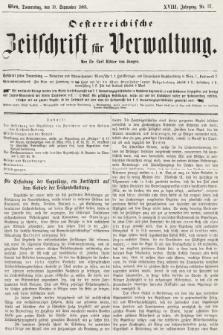 Oesterreichische Zeitschrift für Verwaltung. Jg. 18, 1885, nr37