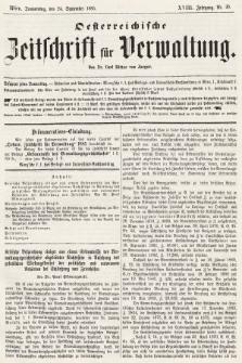 Oesterreichische Zeitschrift für Verwaltung. Jg. 18, 1885, nr39