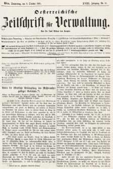 Oesterreichische Zeitschrift für Verwaltung. Jg. 18, 1885, nr41