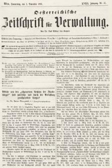 Oesterreichische Zeitschrift für Verwaltung. Jg. 18, 1885, nr45