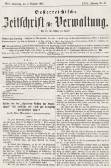 Oesterreichische Zeitschrift für Verwaltung. Jg. 18, 1885, nr46