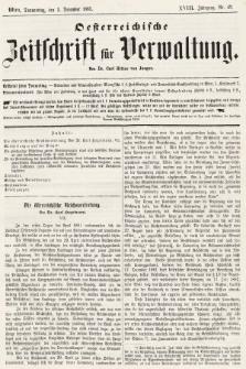 Oesterreichische Zeitschrift für Verwaltung. Jg. 18, 1885, nr49