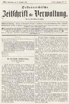 Oesterreichische Zeitschrift für Verwaltung. Jg. 18, 1885, nr50