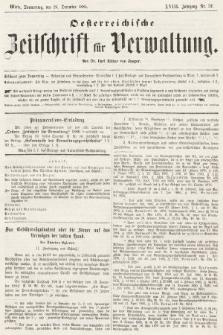 Oesterreichische Zeitschrift für Verwaltung. Jg. 18, 1885, nr52