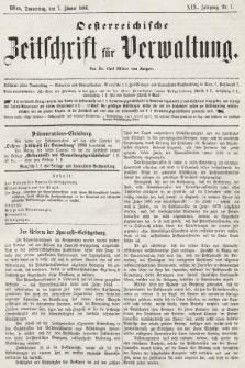 Oesterreichische Zeitschrift für Verwaltung. Jg. 19, 1886, nr1