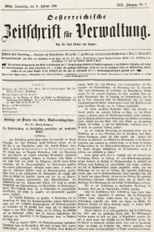 Oesterreichische Zeitschrift für Verwaltung. Jg. 19, 1886, nr7