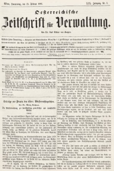 Oesterreichische Zeitschrift für Verwaltung. Jg. 19, 1886, nr8