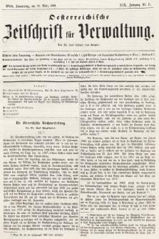 Oesterreichische Zeitschrift für Verwaltung. Jg. 19, 1886, nr11