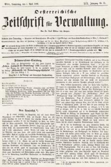 Oesterreichische Zeitschrift für Verwaltung. Jg. 19, 1886, nr13