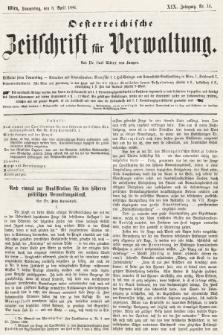 Oesterreichische Zeitschrift für Verwaltung. Jg. 19, 1886, nr14